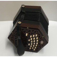 Lachenal 40 Key Dark Wood Anglo Concertina with Steel Reeds in the key C/G fully restored